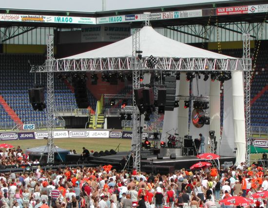 Tipzeil opstelling Stage Renting